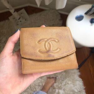 Authentic vintage tan chanel wallet